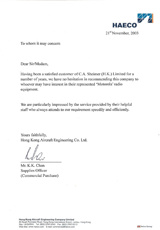 HAECO Thank You Letter. Hendersonu0027s EPA Award